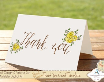 Thank You - Yellow Rose - Hand Drawn Printable  Greeting Card Template, Clipart & EPS Vector Art Set - Instant Digital Download - 19447_3