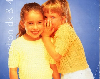 """girls short sleeve sweater knitting pattern pdf DK or 4ply jumper lacy top 20-30"""" cotton DK light worsted 8ply 4ply sport instant download"""