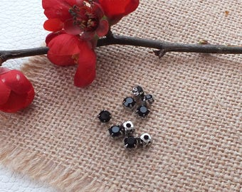 Set of 5 beads RHINESTONE black silvered Metal 5x5x4mm