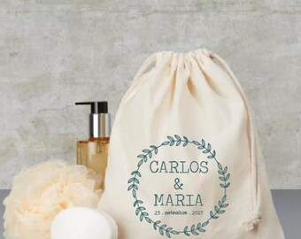 Custom cotton bag -  guest gift - wedding