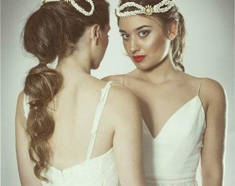 Bohemian bridal crown, bridal white headpiece, wedding hair adornment, white bridal crown, boho modern bride headpiece, bridal tiara