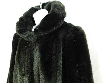Vintage 80s Jordache black faux fur jacket