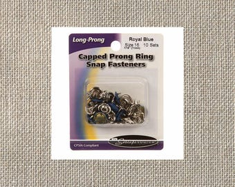 """Snap Source - Capped Prong Ring Snap Fasteners - Size 16 7/16"""" 11mm - Royal Blue - 10 Snap Sets - By the Package"""