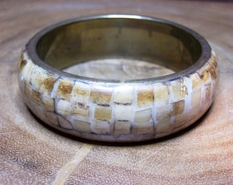 Bone Bangle Bracelet with Brass Accent