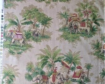 P. Kaufmann Magical Kingdom Elephant Jungle Print Upholstery Fabric Material Remnant - 55 X 78