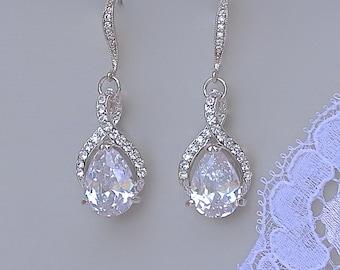 Bridal Earrings, Bridal Teardrop Earrings, Crystal Wedding Earrings, Wedding Jewelry, Bridesmaid Earrings, RIBBON