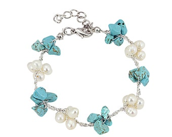 Bracelet with freshwater pearls and Turquoise stone on Japanese silk thread