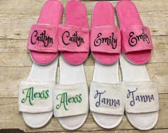 Girls Spa Slippers/ Girls Spa Party Favors/ Girls Spa Birthday Party/ Tween Spa Party/ Slumber Party Favors/ Girls Slippers/ Girls Sleepover