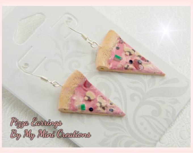 Pizza Earrings, Polymer Clay,  Miniature Food, Miniature Food Jewelry