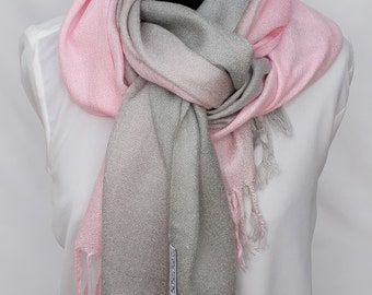 Pink to Dove Grey Ombre Pashmina Shawl