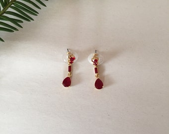 blood red stone dangle earrings | french antique inspired earrings