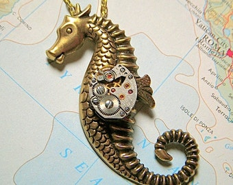 Steampunk Necklace Seahorse Necklace Art Deco Necklace Gothic Victorian Necklace Sealife Necklace Antiqued Brass Nautical Jewelry