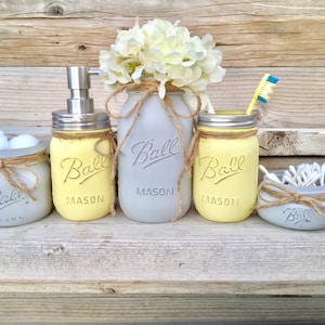 Merveilleux Yellow And Grey Bathroom Decor, Yellow And Gray Mason Jar Bath Set,Yellow  And
