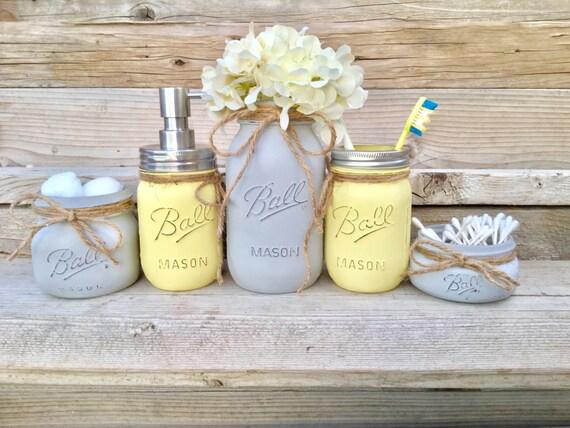 Yellow And Grey Bathroom Decor Yellow And Gray Mason Jar Bath