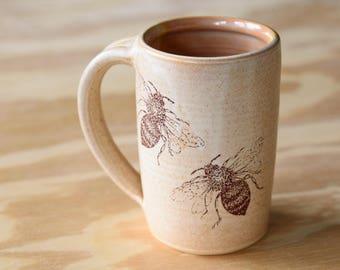 BEE MUG // mug - honey bee - coffee mug - large mug - tea mug - honey bee gift - bee gift - beer mug - beer stein - travel mug