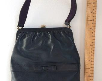 Vintage blue handbag, leather bag, navy blue purse, handbag and change pouch, vintage purse, Mad Men purse, mid century accessories.