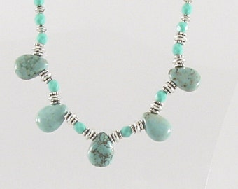 Necklace - Blue/Green Magnesite Teardrops & Silver (N021)