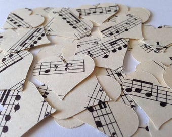 Vintage, Sheet Music, Hearts, Confetti, Love, Wedding, Decor, Sprinkles, Antique, Classical, Music