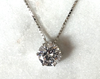 Sterling Silver Cubic Zirconia Six-Prong Round Solitaire Pendant, Sterling Silver Box Chain Necklace, 6 Claw Set Solitaire Pendant Necklace