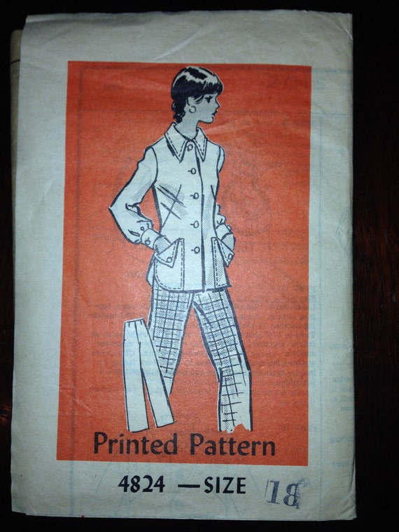 Anne Adams 70s Mail Order Sewing Pattern 4824 Misses Jacket and Pants Size 18