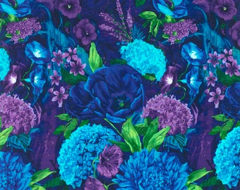 Large Scale Garden Floral, FABRIC PANEL, Timeless Treasures, Chong-a Hwang, C3898 Midnight, Cotton Floral, Quilting, Quilt, 24 Inch Panel