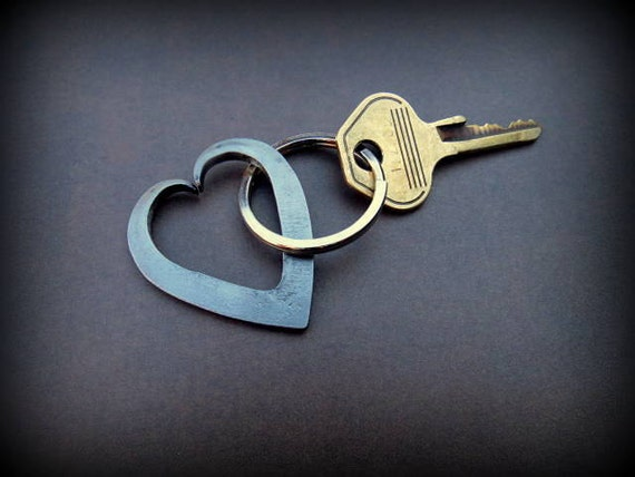 HEART KEYCHAIN - 6th (Iron) or 11th (Steel) Wedding Anniversary Gift Idea Gifts for Wife Girlfriend Couple Hand Forged  Personalized Option