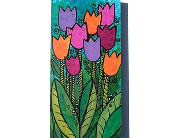 Tulip Painting - Orange, Pink, and Purple Flowers on Green and Blue - Original Mixed Media Art - Floral Wall Art Decor by Claudine Intner