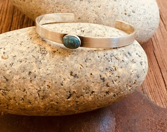 Silver Silver Cuff Bracelet, Brushed Hand Patina finish, 10x3mm  Turquoise Sterling Silver  Cuff By Evans Point Studio