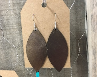 Gunmetal leaf leather earrings