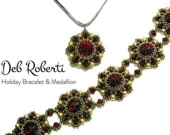 Holiday Bracelet & Medallion beaded pattern tutorial by Deb Roberti