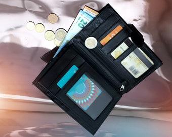 Black leather wallet Women's leather wallet Leather bifold  wallet Personalized wallet Personalized messenger Business card wallet