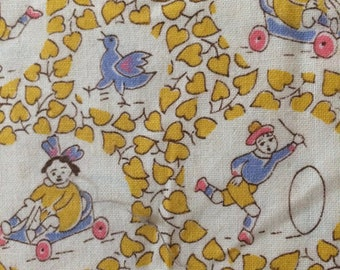 Vintage 70's Cotton Fabric, Children and Animals 1.4 yards