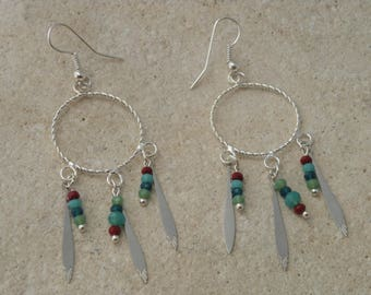 Beads and chandelier earrings with glass