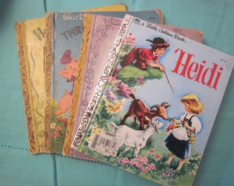LITTLE GOLDEN BOOKS Heidi Three Little Pigs Prayers For Children Nursery Songs Collectibles Set Of Four