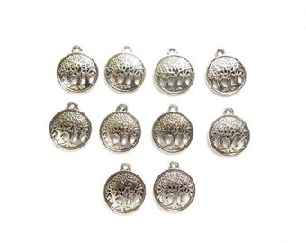 10 Antique Silver Tree Charms - 21-62-2