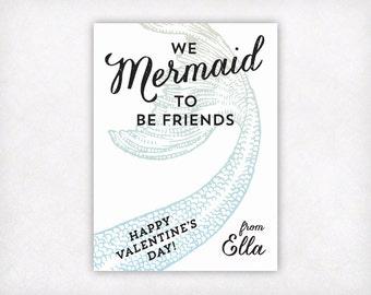 PRINTABLE Mermaid Valentines Cards for Girls, Personalized Valentine's Day Cards, We Mermaid To Be Friends Little Mermaid Valentine Card