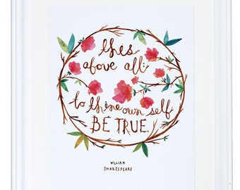 Shakespeare Quote, Watercolor Painting, Inspirational Wall Art, Meera Lee Patel