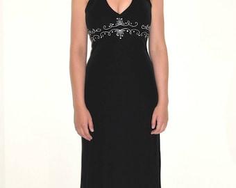 Beaded Black Velvet Halter Formal Gown Dress Dave & Johnny by Laura Ryner Sz 3