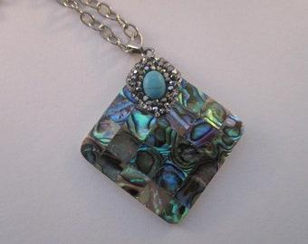 Abalone Mosaic Pendant Necklace N623176