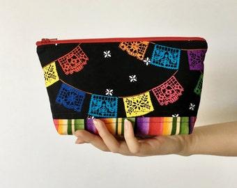 Papel Picado Zipper Pouch, Festive Zipper Pouch, Quilted Zipper Pouch, Purse Organizer, Makeup Bag