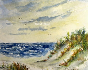 Beach Watercolor, archival print, sand dune, seascape painting, watercolor art, nautical print, beach art, beach painting, beach shore art.