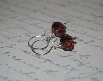 Dark Rose Pink Crystal Earrings on Sexy French Style Ear Wires