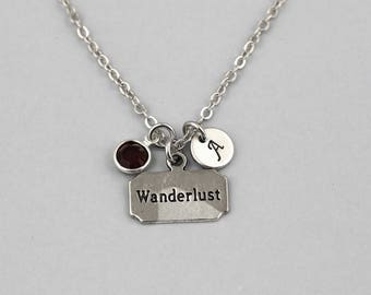 wanderlust necklace, sterling silver filled, initial necklace, OPTIONAL birthstone or pearl, travel jewelry, travelling necklace, wanderer
