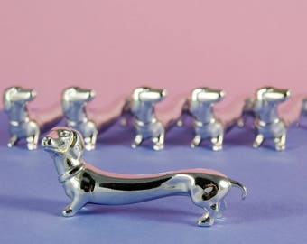 Dachshund Knife Rests - set of six - French Vintage - Silver Plated
