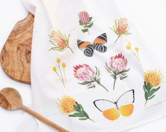 Protea and Butterfly Tea Towel - Colorful Floral Flour Sack Kitchen Towel
