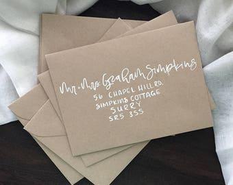 Kraft Paper Envelopes with Hand Lettering, Hand lettered Envelopes, Wedding Envelopes, Calligraphy Envelopes, Brush Hand Lettering
