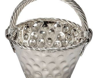 Mid-Century Hammered Nickel Plated Tall Handled Basket [6710]