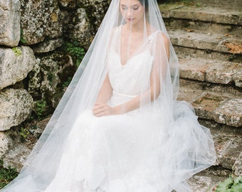Bridal veil boho wedding ankle length  - Rosalie