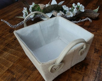 Lovely basket of jute, cotton and leather, for storage or decoration