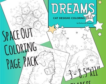 Feline Dreams Space Out Kitten Coloring 3 Page Pack with poster - Digital Download
